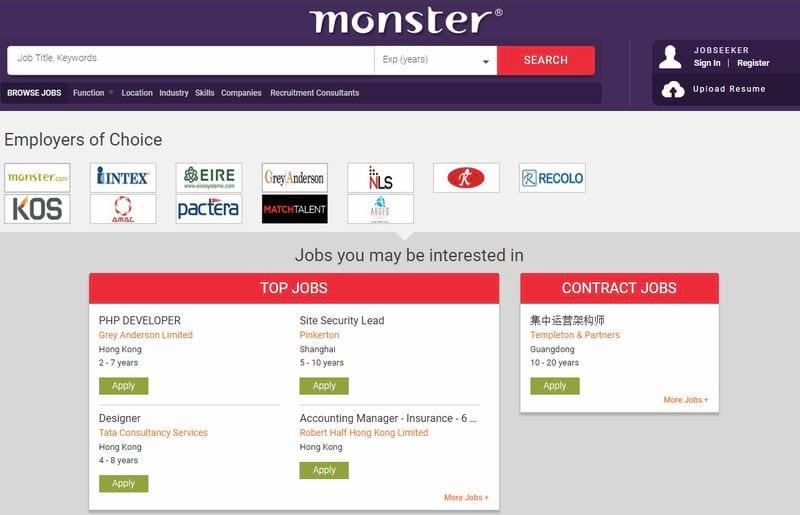 Сайт для поиска вакансий с Китае