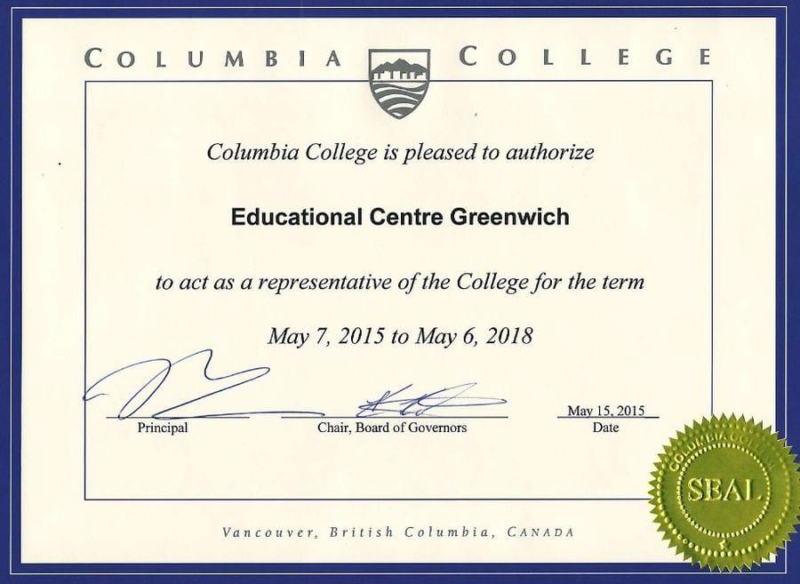 Образец сертификата колледжа Ванкувера