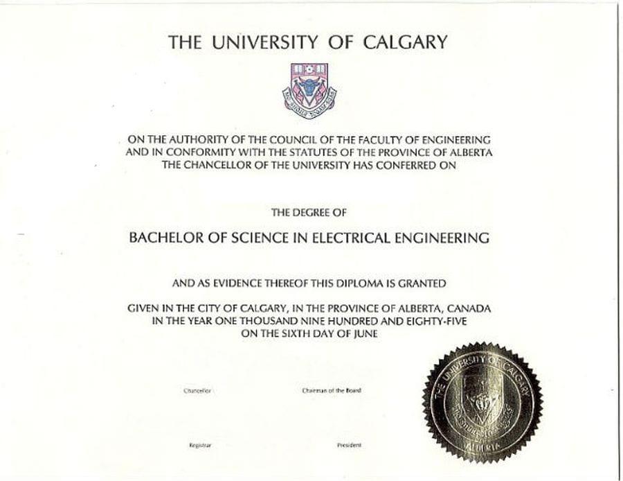 Диплом университета Калгари