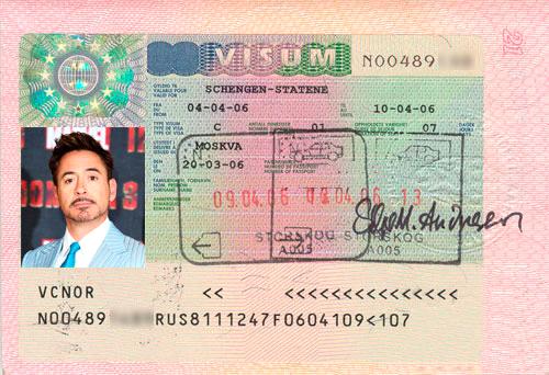 Пример шенгенской визы в Норвегию
