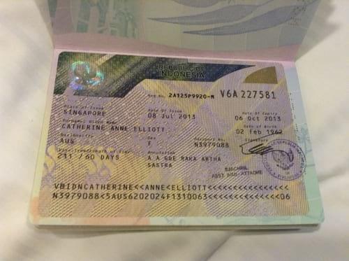 Сингапурская виза в паспорте