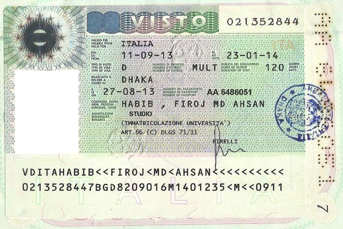 Итальянская виза категории D