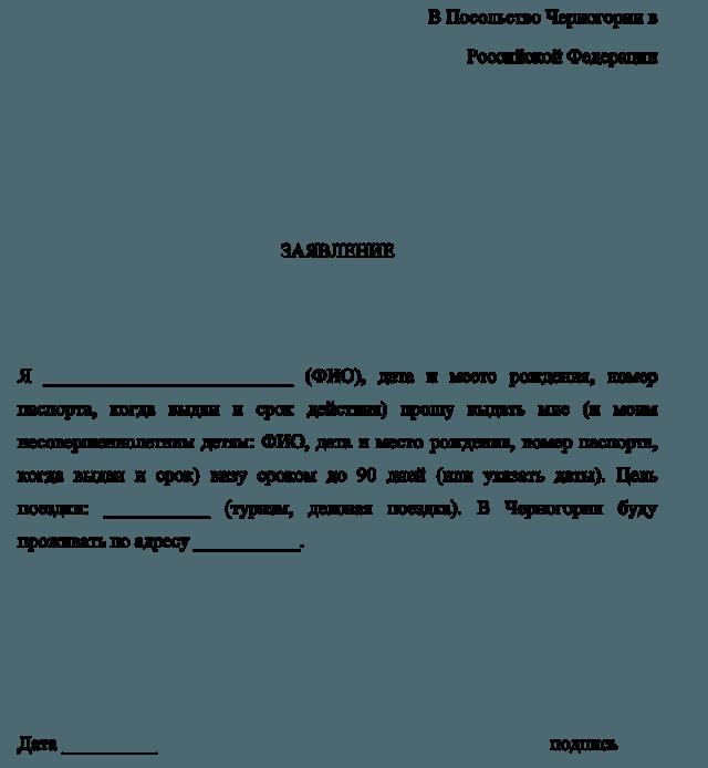 Заявление на выдачу визы