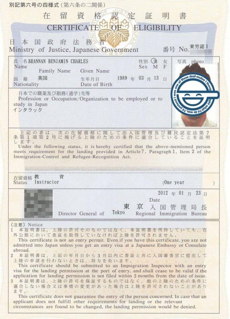 Сертификат Certificate of Eligibility