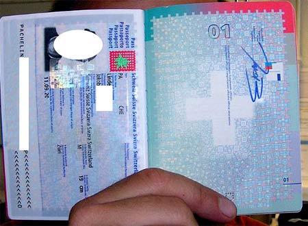 Образец швейцарского паспорта
