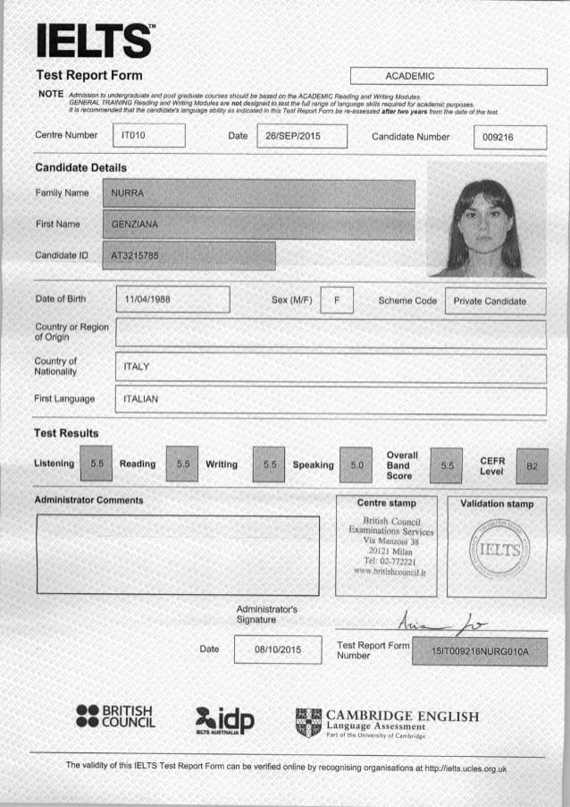 Сертификат IELTS