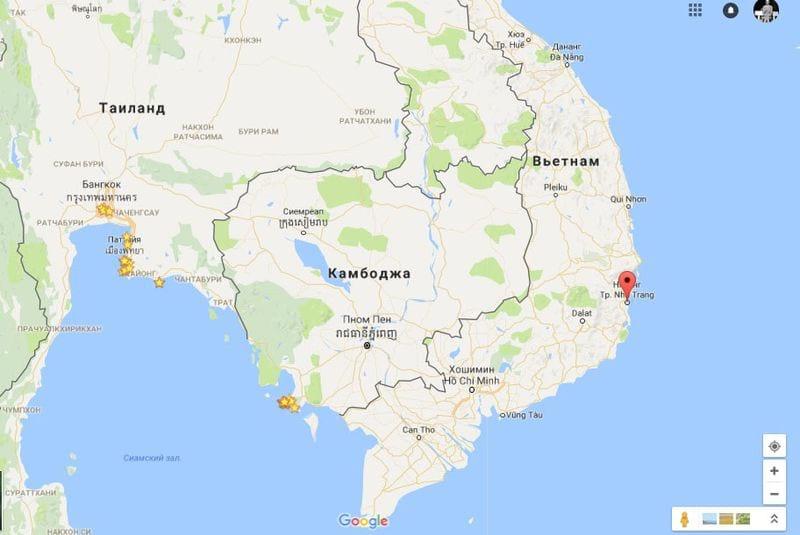Вьетнам на карте
