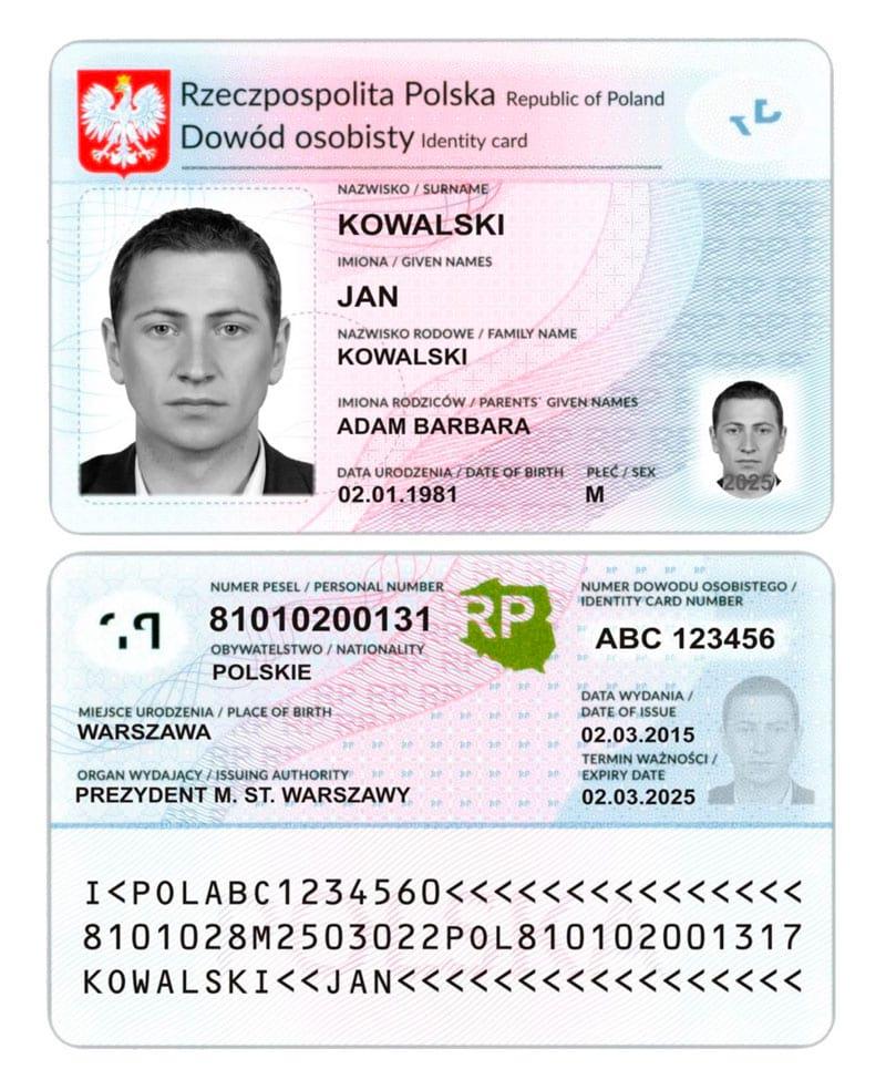 Актуальный образец польского внутреннего паспорта