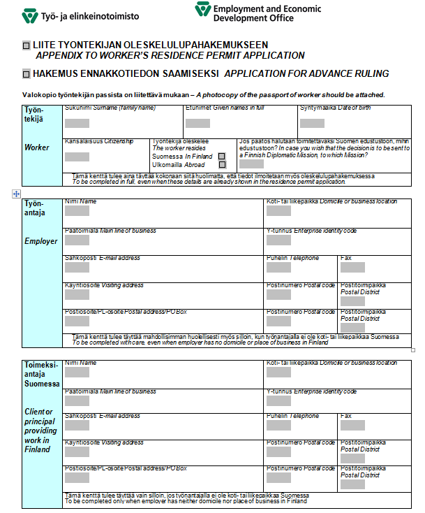Разрешение на работу в Финляндии