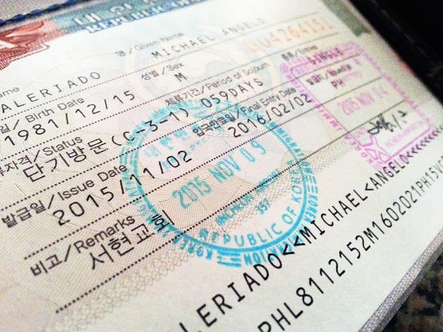 Установленная цена на визу в Корею