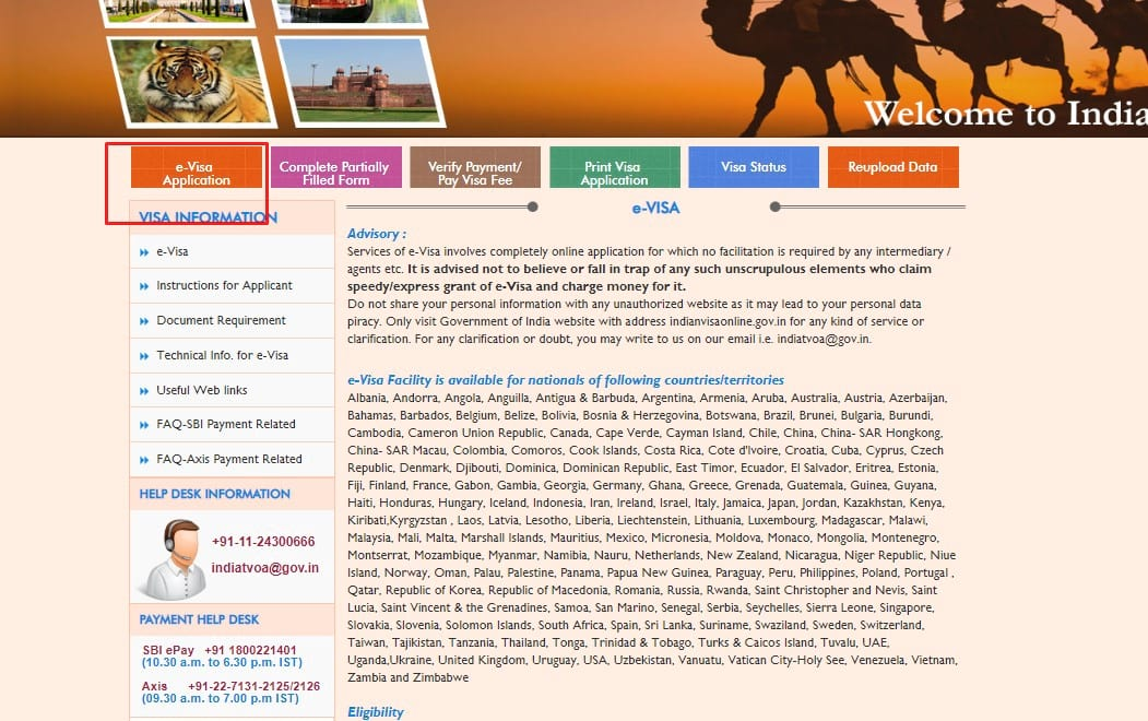 Сайт для заполнения электронной визы в Индию