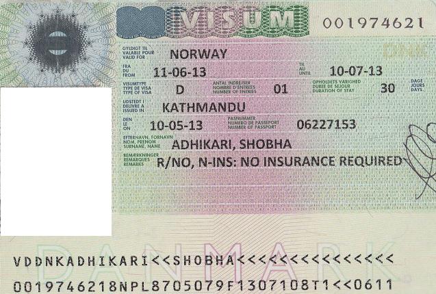 Образец национальной визы в Норвегию