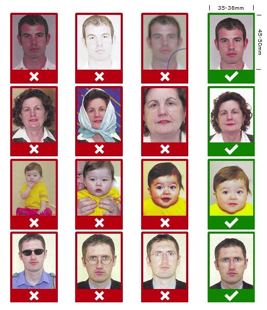 Пример фотографий на визу