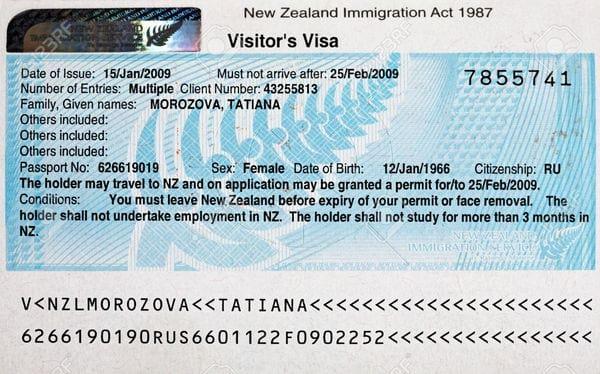 Туристическая виза в Новую Зеландию