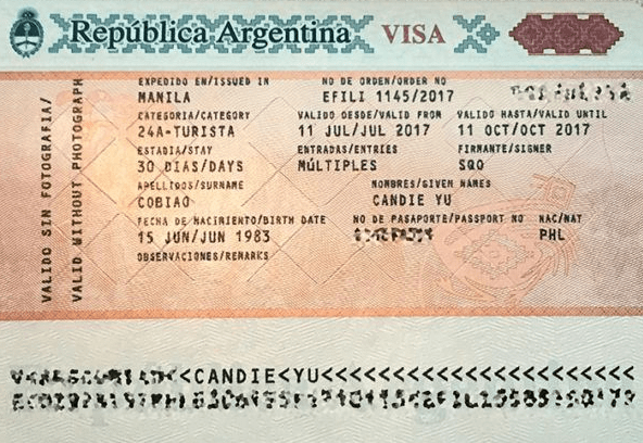 Образец Аргентинской визы