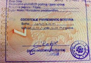 Оформление визы в Черногорию