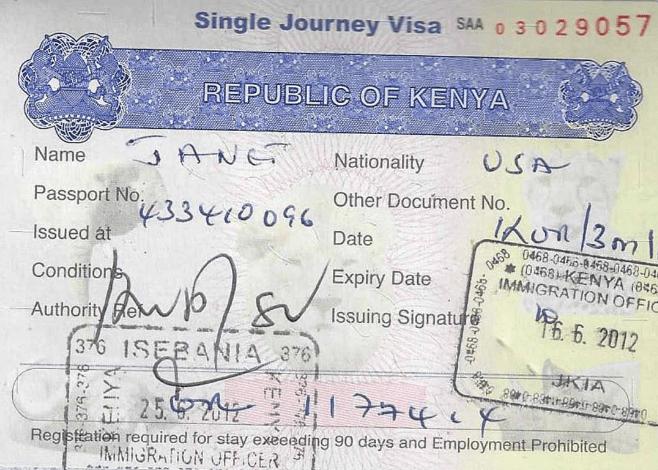 Визу в Кению