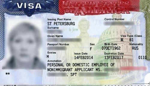 Американская виза категории «В1»