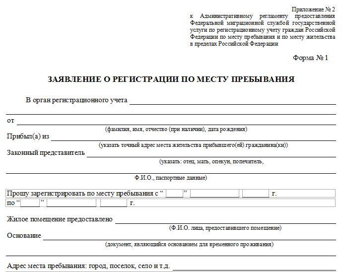 заявление о регистрации по месту пребывания