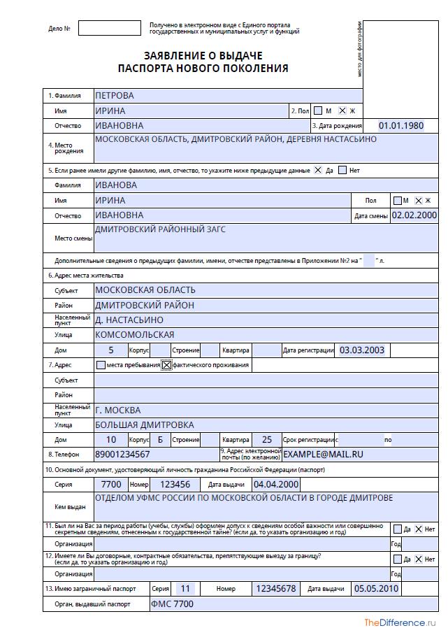Пример заполнения заявления на загранпаспорт нового поколения