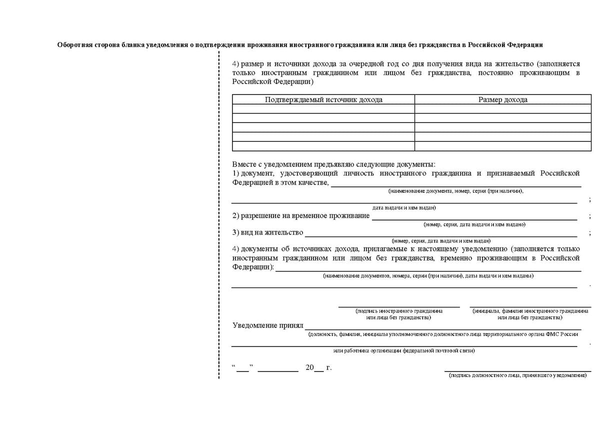 бланк уведомления о подтверждении проживания в РФ по ВНЖ